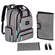 YavoBaby Diaper Bag Backpack - Large Capacity 18 Pocket Multi-Functional Unisex Travel Backpack - Durable and Stylish - Free Changing Pad, Stroller Straps, and Nursing Pouch - Gray w/Teal Tags