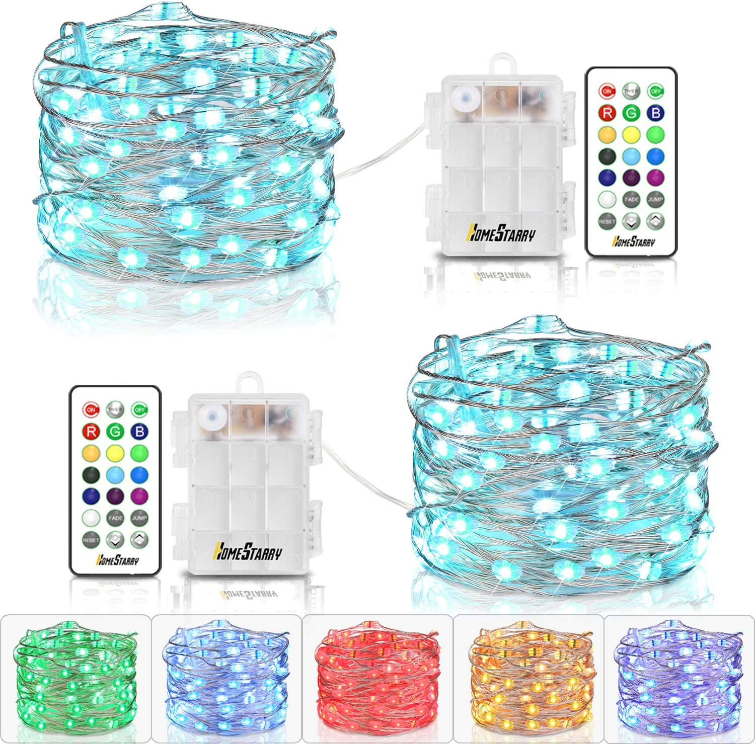 Homestarry Multicolor Fairy Lights with Rmote Waterproof String Lights