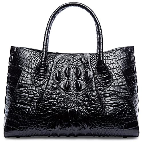 96fb5d5ec5f4 PIFUREN Designer Crocodile Top Handle Handbags Womens Genuine Leather Tote  Bags  Handbags  Amazon.com