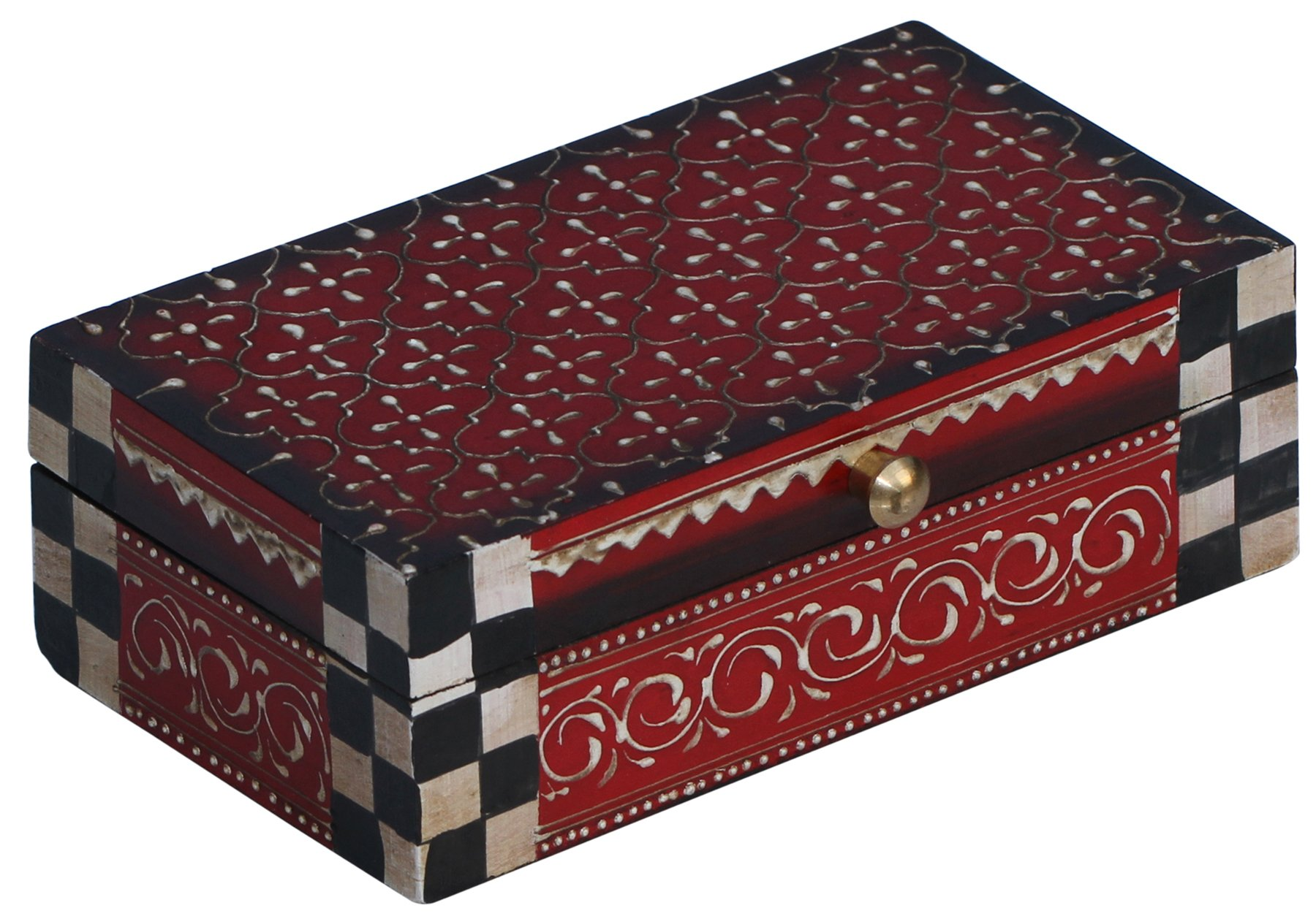 Decorative Wood Box - Handmade Treasure Chest - Red Premium Quality and CONE PAINTING ART Trinket keepsake Decorative Jewelry Box from India - Gifts for Her