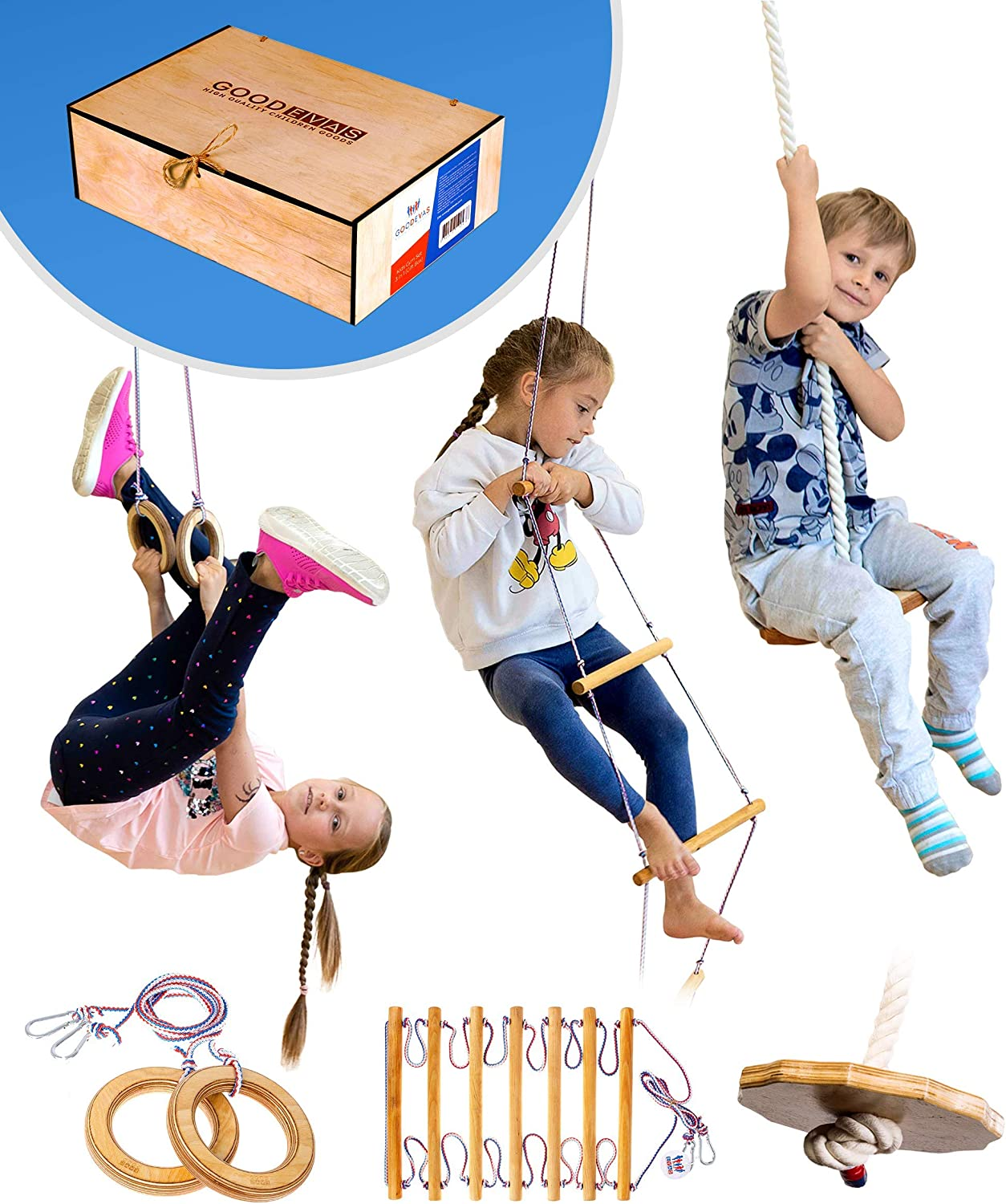 Yeaser Kids Trapeze Bar Rings 6pcs Swing Ring Playground Swing Set Accessories Replacement for Kids Children Indoor Outdoor Gym Fitness Equipment