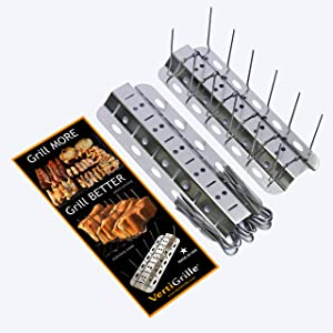 VertiGrille Skewer Rack (24 skewers / 2 Pack) - Ribs, Chicken Wings, Shish Kabob, Gyro, Fish & More. Made in USA. Stores Flat in Kitchen Drawer. Accessory for Smokers, Grills, Air Fryers.