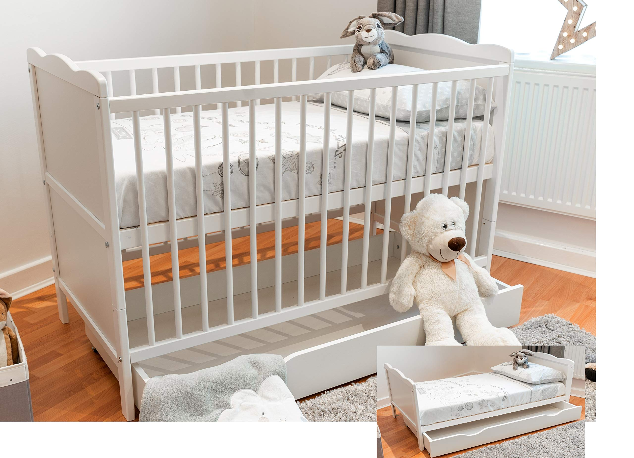 White Cot Bed 140x70cm with Cotbed Sprung Mattress Converts into a Junior Bed