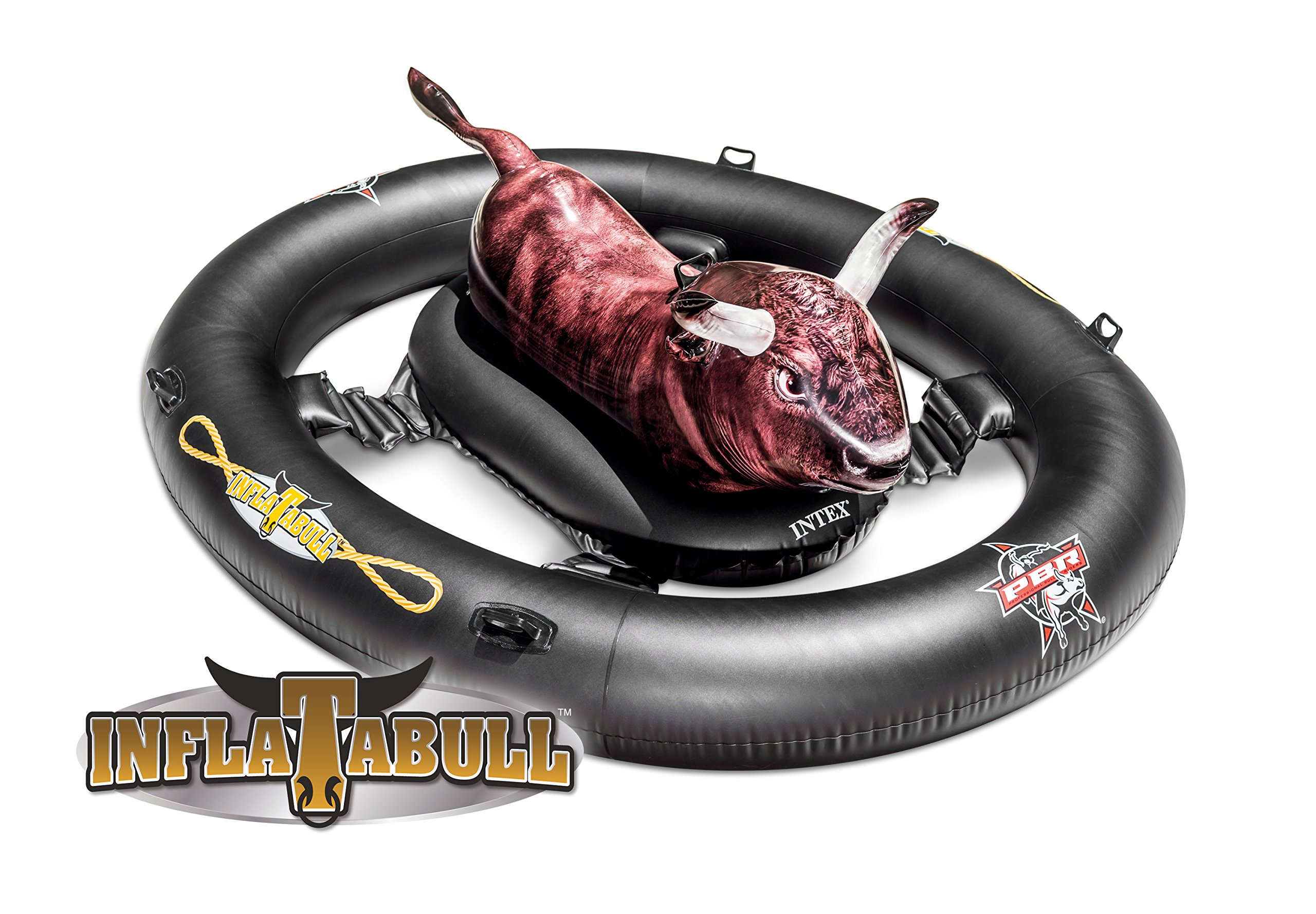 Intex Inflat-A-Bull, Inflatable Ride-On Pool Toy with Realistic Printing, 94'' X 77'' X 32'', for Ages 9+ by Intex