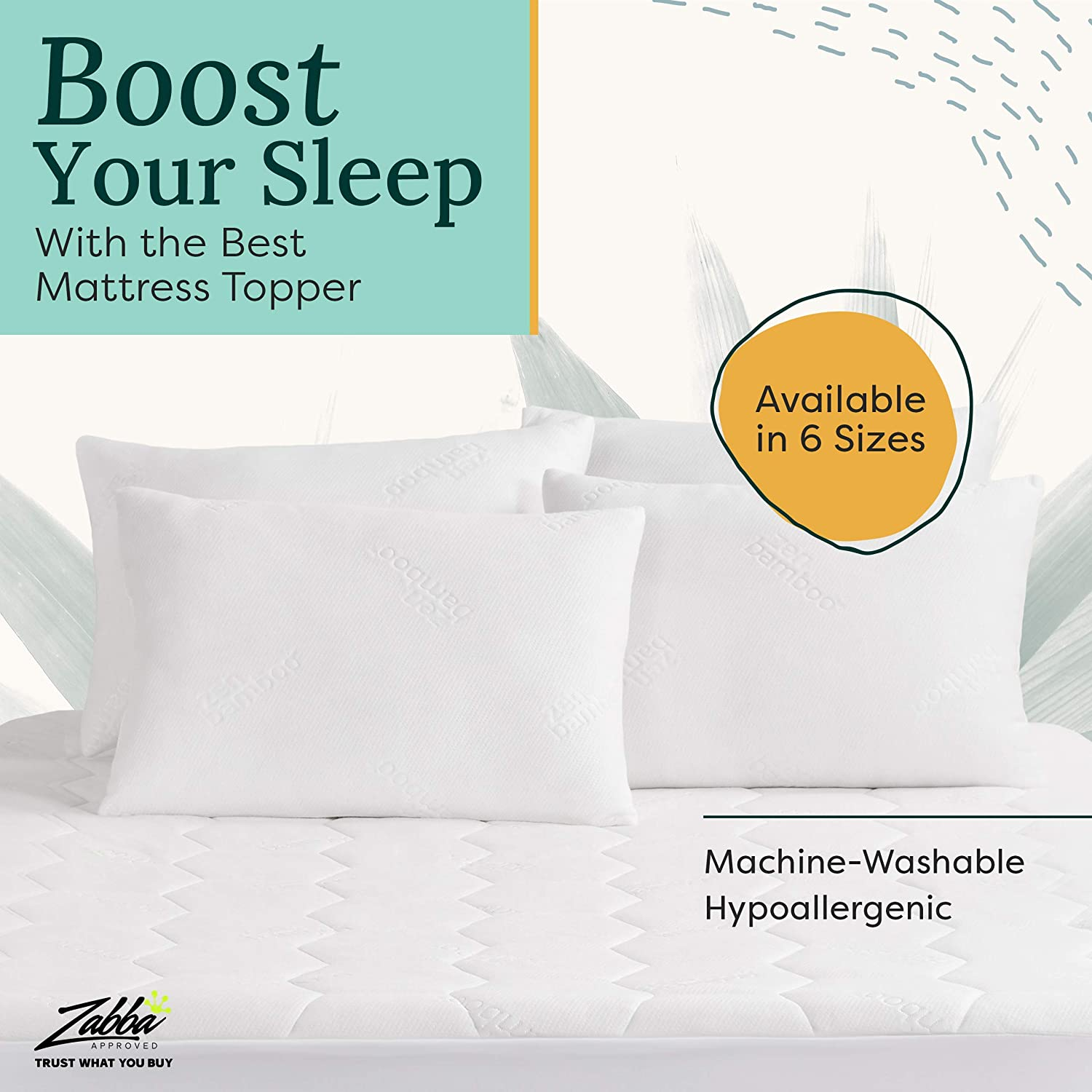 Zen Bamboo Ultra Soft Fitted Bamboo Mattress Pad Premium Hypoallergenic Bamboo Mattress Topper with Honeycomb Cooling Technology Full