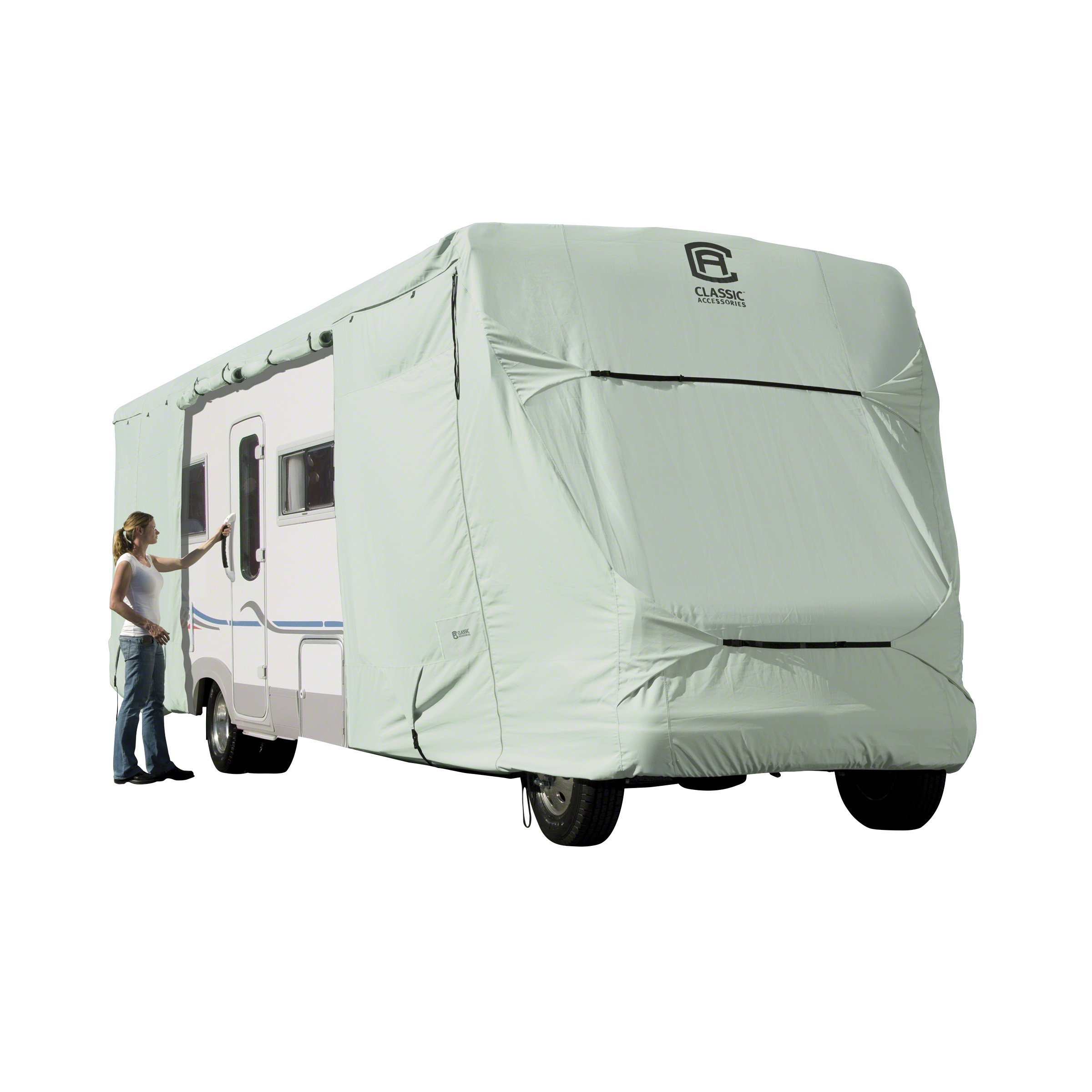 Classic Accessories 80-131-181001-LG Fits Overdrive PermaPro Heavy Duty Cover for 29' to 32' Class C RVs, Silver Sage