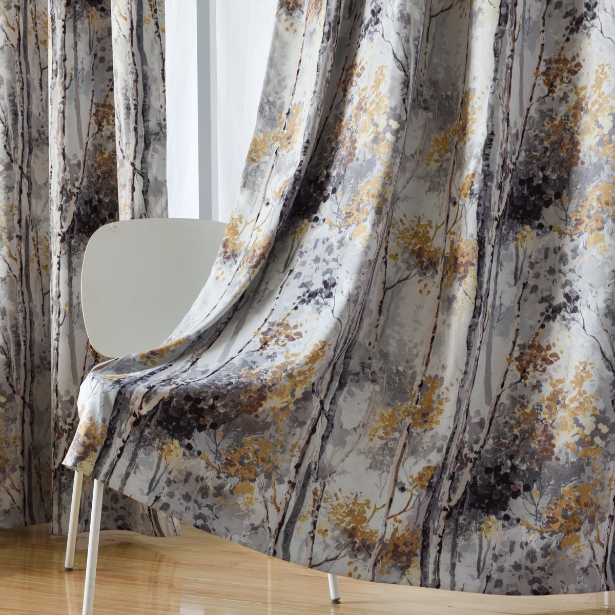 2 Panels 63 Inch Length Grommet Digital Printing Soft Room Darkening Blackout Curtains for Baby Room Green Kotile Floral Design Print Short Window Drapes with Colorful Tree Curtain for Kids Room