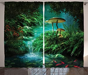 Ambesonne Fantasy House Decor Collection, View Of Fantasy River with A Pond, Fish And Mushroom in Jungle Trees moss eden, Living Room Bedroom Curtain 2 Panels Set, 108 X 84 Inches, Green Teal Red