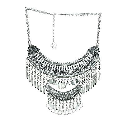 903e970f4bb38 Amazon.com: ChicKraft Classy Queen Silver & Black Choker Necklace ...