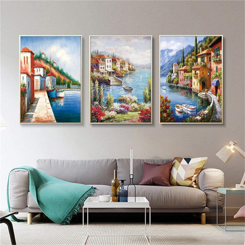 60 x 80 cm x3 Rahmenlos OKYQZ Wandkunst Bilder Mediterrane Gem/älde Poster Leinwand Venedig F/ür Wohnzimmer Wohnkultur Seest/ück Malerei