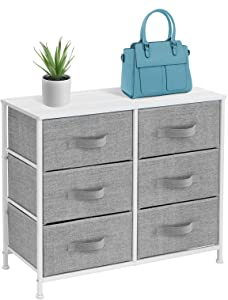 Sorbus Dresser with 6 Drawers - Furniture Storage Tower Unit for Bedroom, Hallway, Closet, Office Organization - Steel Frame, Wood Top, Easy Pull Fabric Bins (6 Drawer - White)