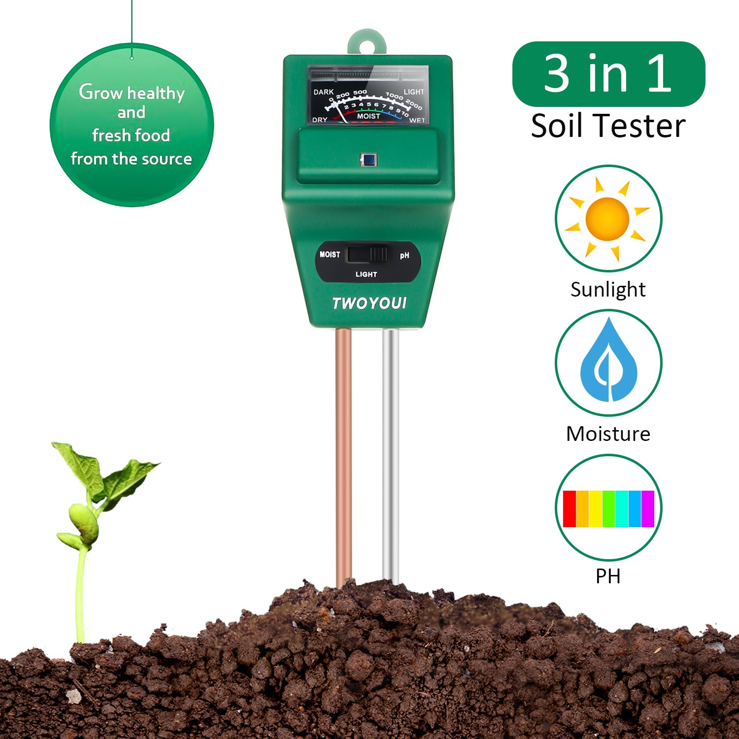 Soil pH Meter, 3-in-1 Moisture Sensor Meter/Sunlight/pH Soil Test Kits Test Function for Home and Garden, Plants, Farm, Indoor/Outdoor Use, Promote Plants Healthy Growth (BAF2.0 Sail PH Tester)