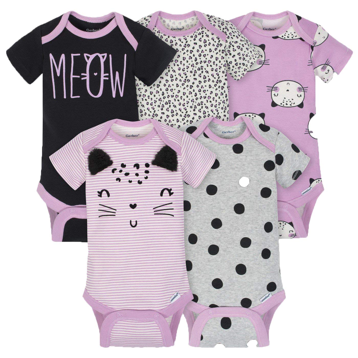 Gerber Girls 5-Pack Onesies Brand Short Sleeve Bodysuits (Newborn, Purple Cats)