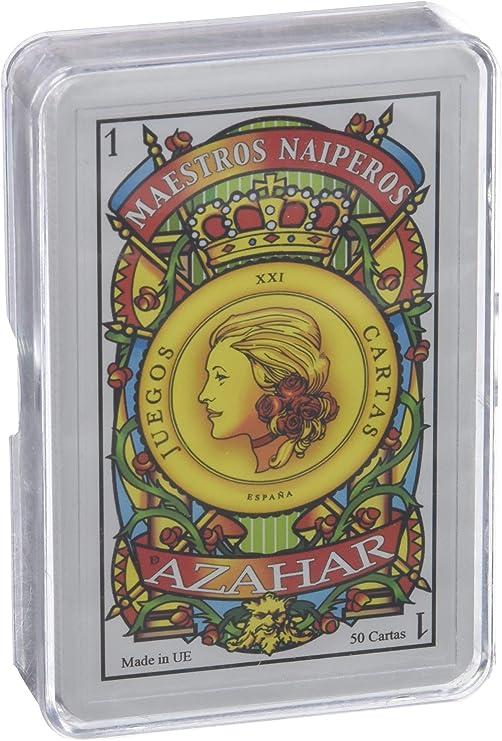 Maestros Naiperos- baraja, española, 50, Cartas, Estuche de plástico, Calidad Popular, Color Azul y Rojo (130003069): Amazon.es: Juguetes y juegos