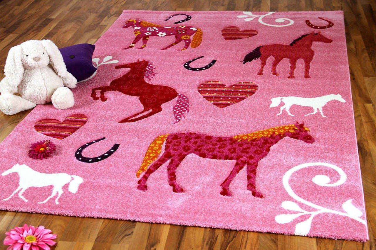 Maui Kinder und Spiel Teppich Kids Rosa Pferde in 3 Größen