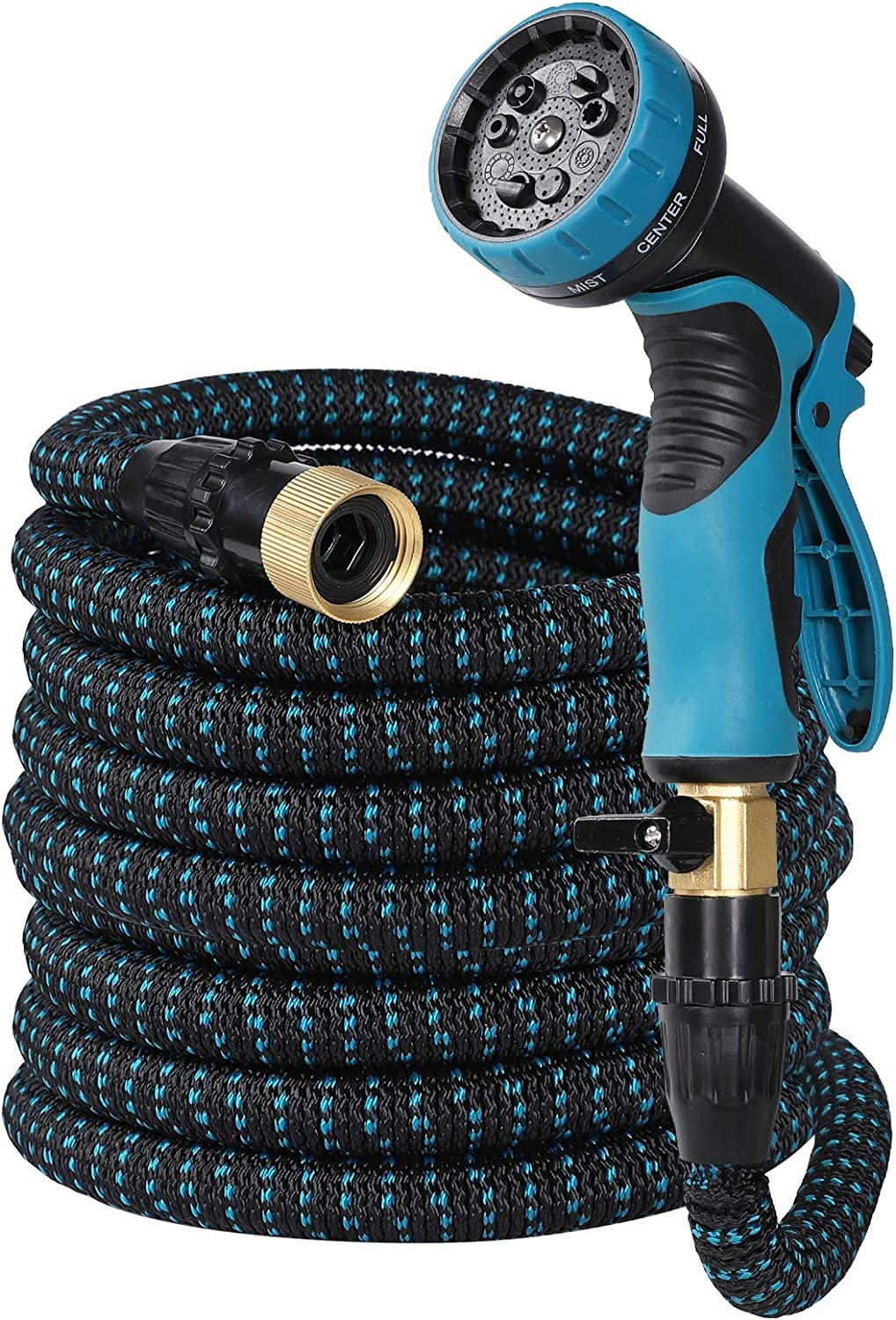YEH-KC Easytree Hose, Garden Hose Expandable, Water Hose with Extra Strength Hose Spray Nozzle, Flexible Garden Hose with All Solid Brass Connectors, Leak Proof, Durable Expanding Garden Hose 25 Feet