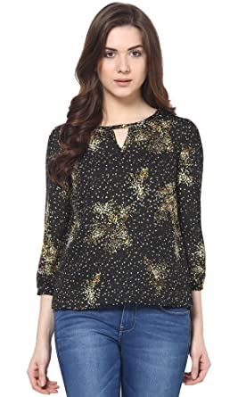 Trend 18 Women's Black Multi Printed Top Tops at amazon
