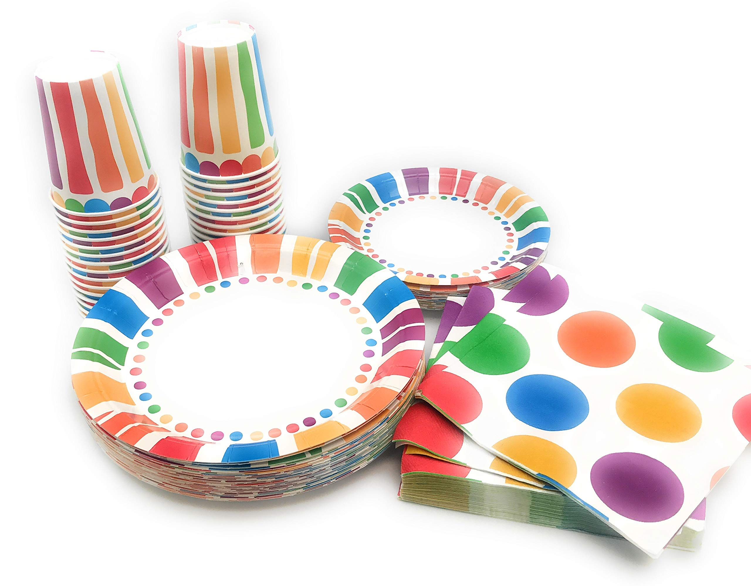 Serves 30 Rainbow Party Pack | 30 cups 9 oz | 30 Dessert Plates 7'' | 30 Dinner Plates 9'' | 30 Napkins | Serves 30 by Oojami (Image #3)