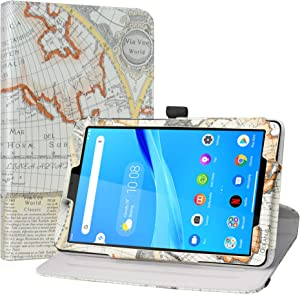 """LiuShan Compatible with Tab M8 FHD Rotating Case,360 Degree Rotation Stand PU Leather with Cute Pattern for 8"""" Lenovo Tab M8 FHD (2nd Gen) TB-8705F Tablet(Not Fit Lenovo Tab M8 HD (2nd Gen),Map White"""