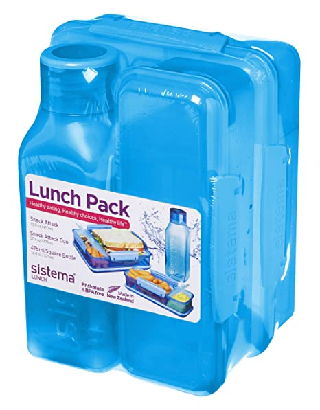 Sistema Snack Attack, Snack Attack Duo and Square Bottle Lunch Pack, 475 ml  -