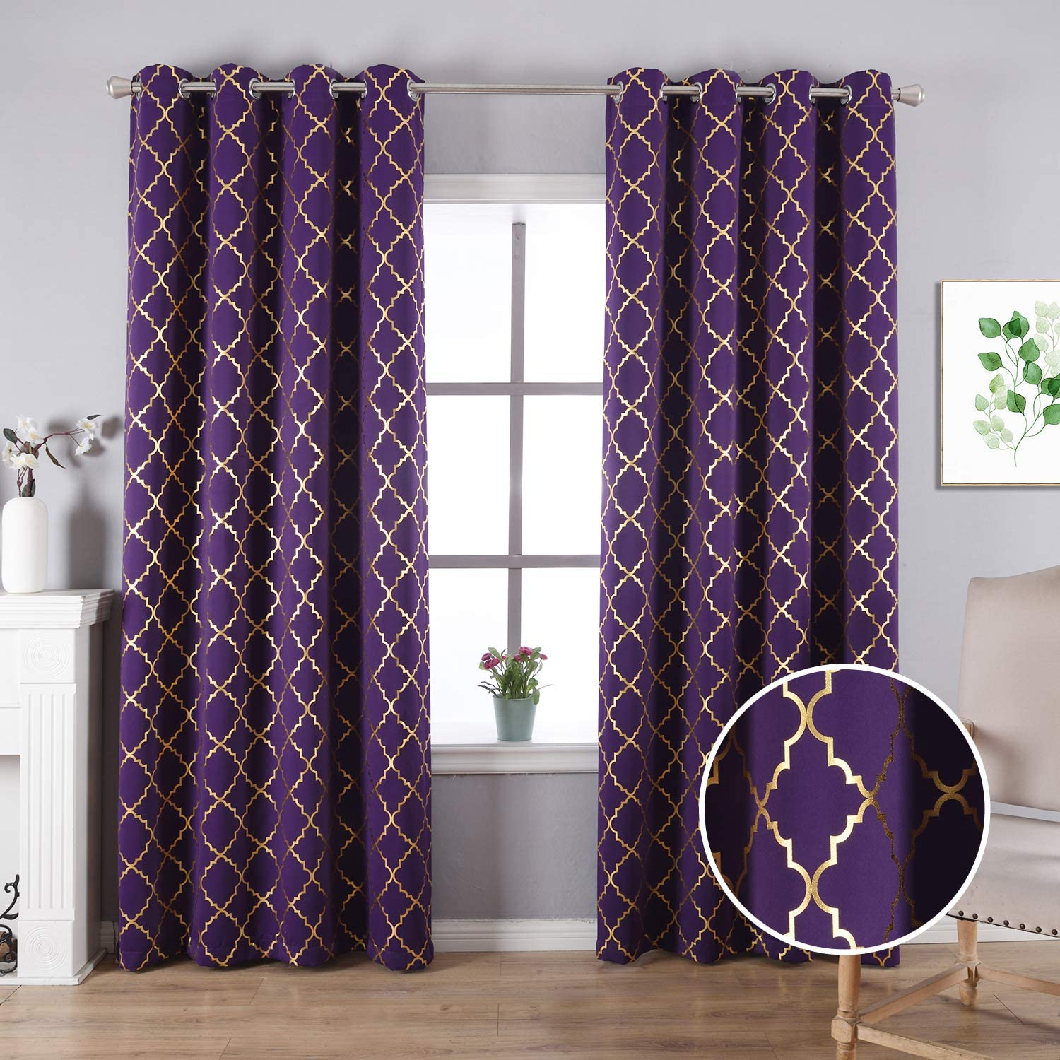 Anjee Blackout Curtains for Office with Foil Printed Geometric Pattern, Thermal Insulated Grommet Top Window Drapes 52 x 95 Inches, Purple