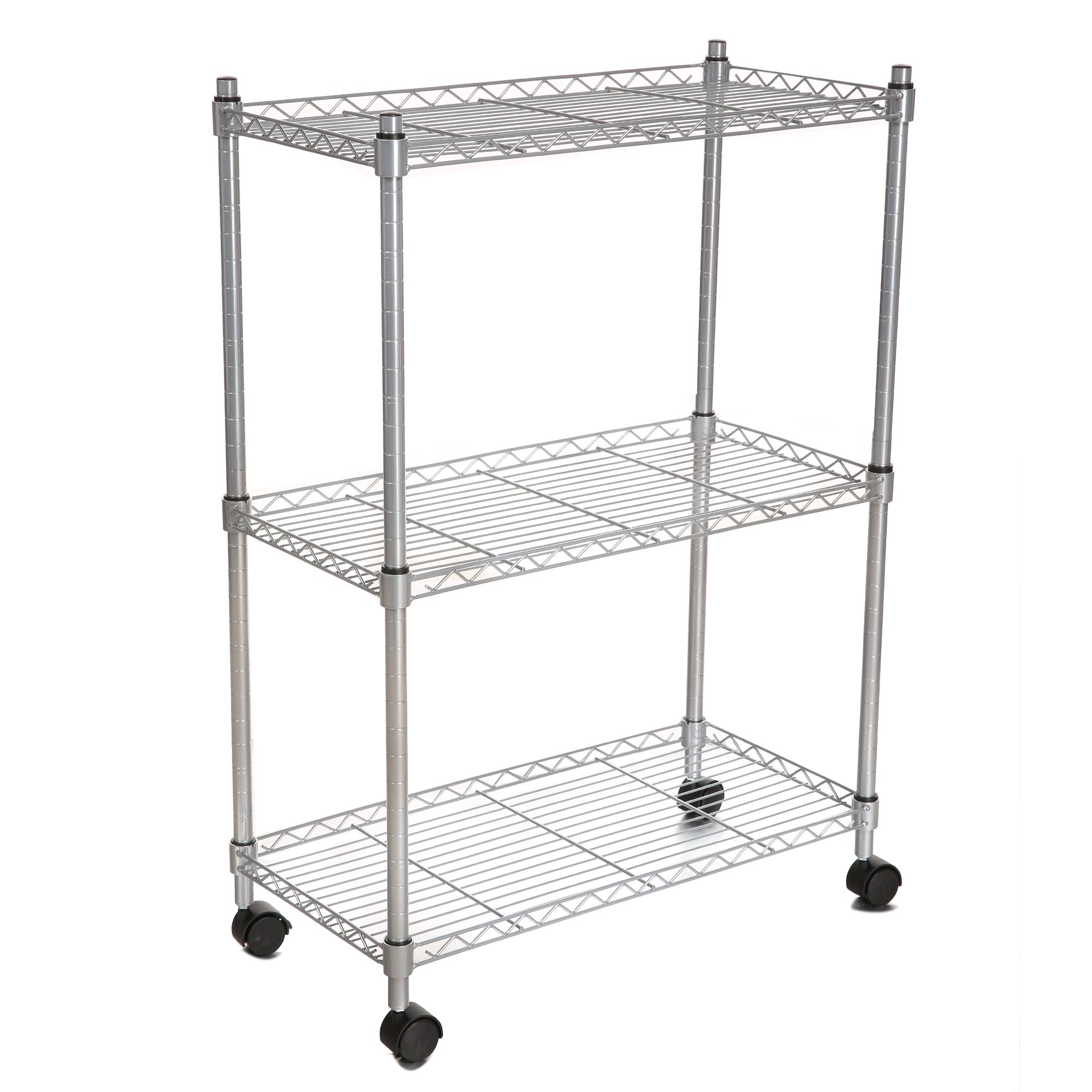 Anfan 3 Tier Wire Shelving Rack Heavy Duty Storage Shelf with Wheels for Kitchen, Garage and Office - 24 by 12 by 34Inch (Silver, 3 Shelves)