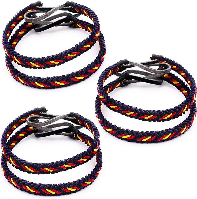 MovilCom® Pack de 6 Pulseras Pulsera de Cuero e Hilo Trenzado Colores Bandera ESPAÑA 6 Unidades Color Azul Marino: Amazon.es: Joyería