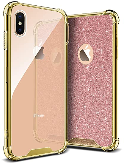 4f28bd4964 DAUPIN Compatible iPhone Xs iPhone X Case for Women Girl Phone Cover Bling  Glitter Protective Defender