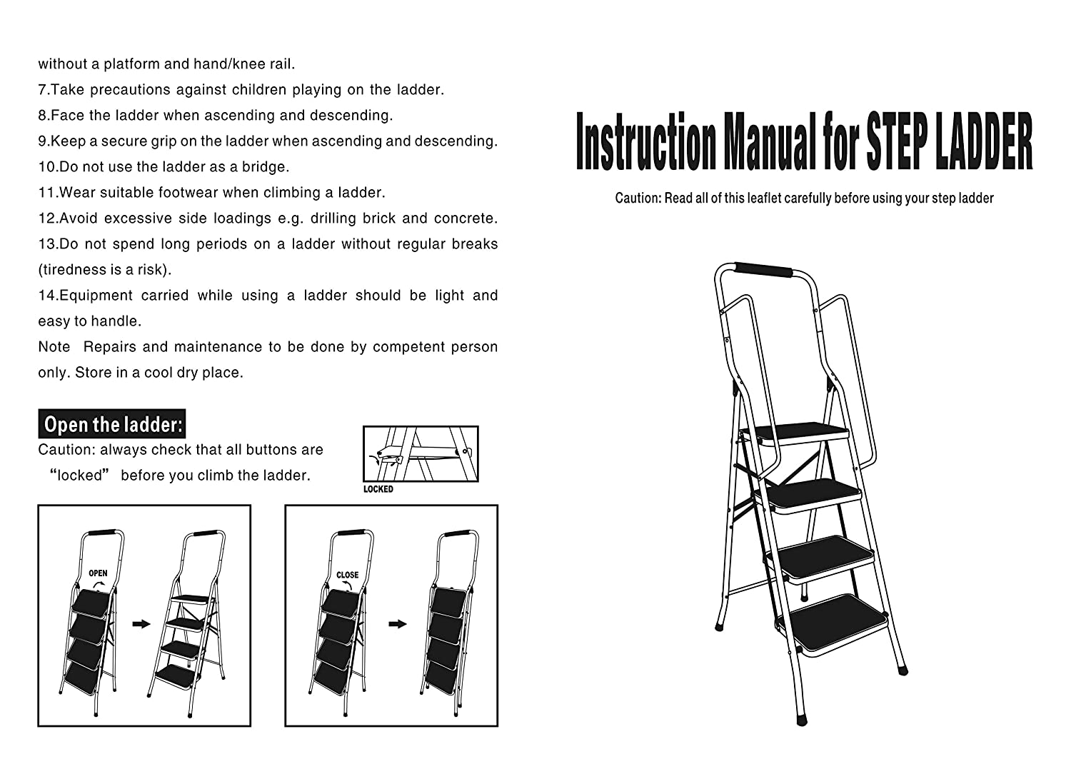 150 KG Capacity 2 Large Steps with Safety Anti-Slip Mat Tread 2 Step Ladder Heavy Duty Steel Mini Small and Compact Folding Steps