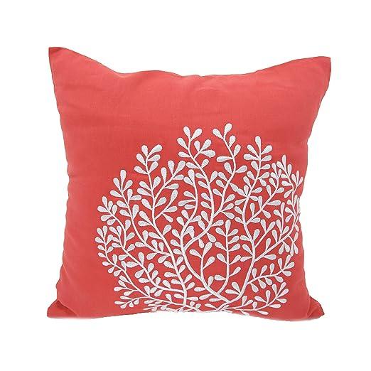 KAINKAIN Coral manta decorativa Funda de almohada naranja ...
