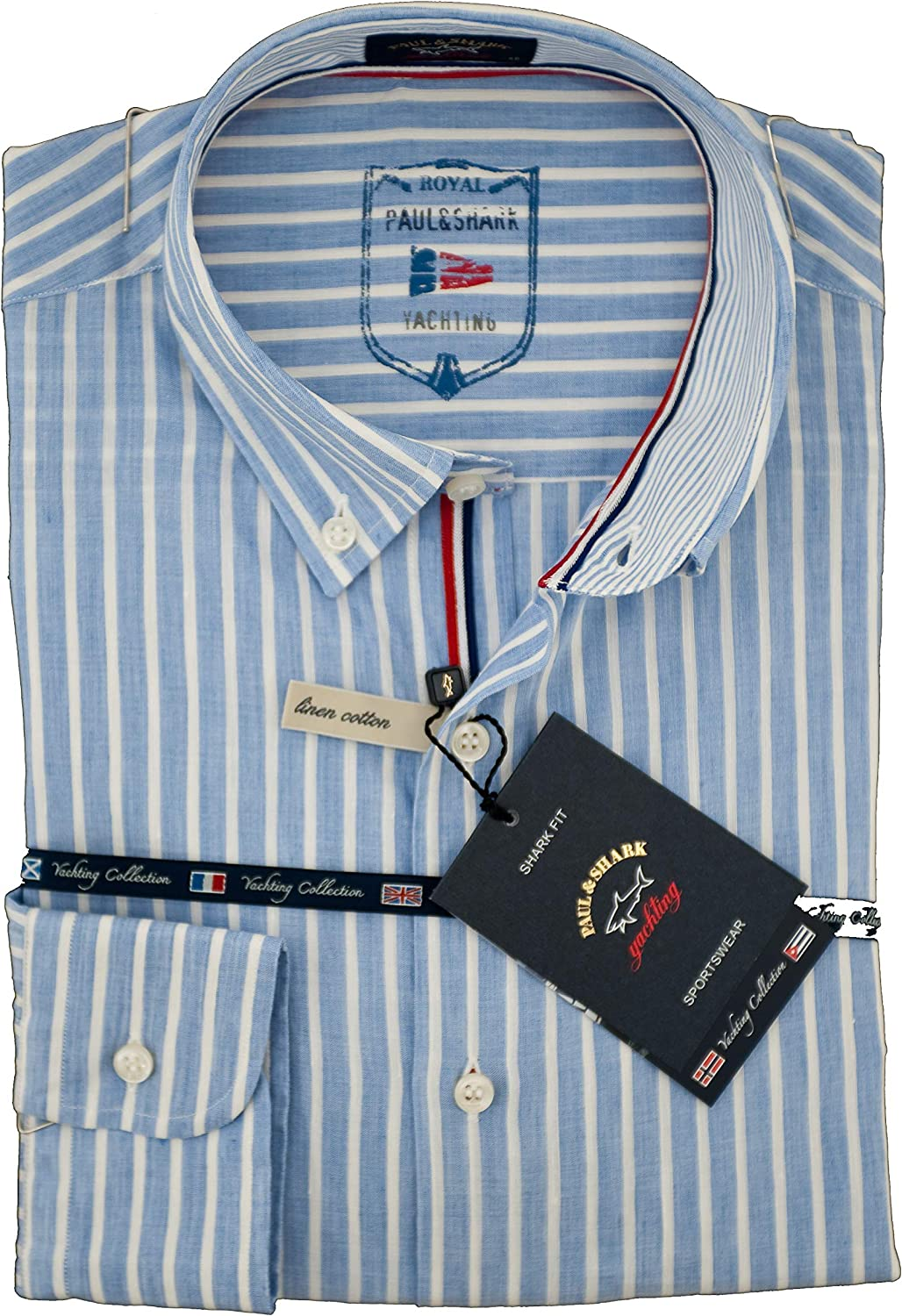 Paul & Shark Camisa Slim Fit Celeste A Righe 38: Amazon.es: Ropa y accesorios