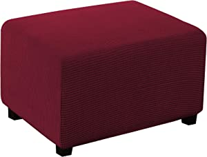 Ottoman Slipcover Stretch Rectangle Storage Stool Ottoman Cover Extra Large for Living Room Folding Storage Stool Furniture Protector Rectangle Slipcover with Elastic Bottom (X-Large, Burgundy)