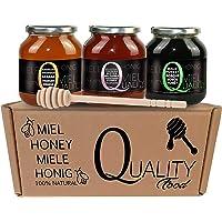 Miel pura de abeja 100%. Miel cruda sin pasteurizar ni calentar. Pack regalo y degustación 3x500g. Tarro de cristal…
