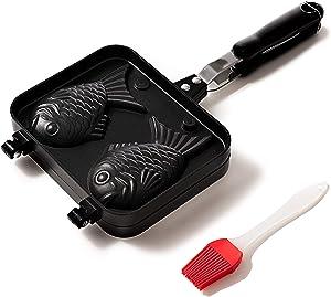 Taiyaki Pan - Fish Shaped Waffle Cake Maker - Comes with Silicone Oil Brush - by KUHA