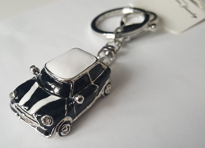 Mini Style Car Keychain Gift Rhinestone Detail Cooper Novelty (Black (Silver Trim))