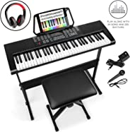 Best Choice Products 61-Key Beginners Electronic Keyboard Piano Set w/LED Screen, Recorder, 3 Teaching Modes, H-Stand, Stool, Headphones, Microphone
