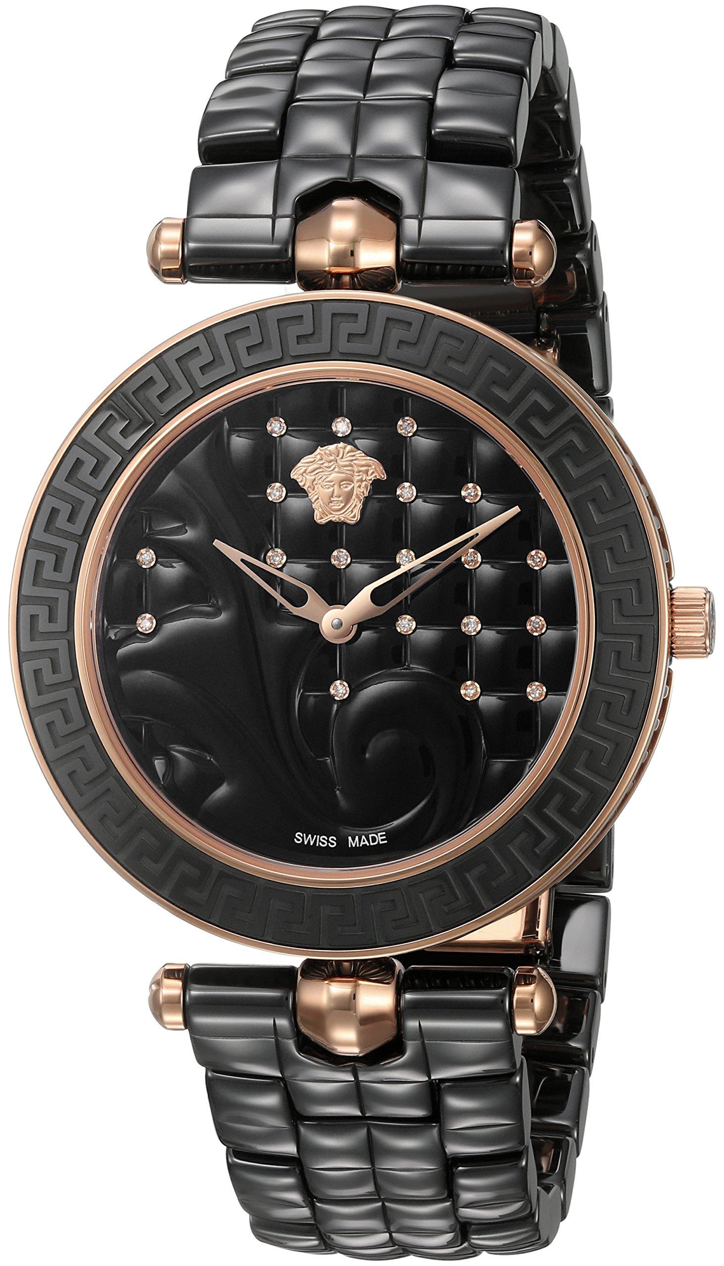 Versace Women's 'Vanitas' Swiss Quartz Stainless Steel and Ceramic Casual Watch, Color:Black (Model: VAO050016)
