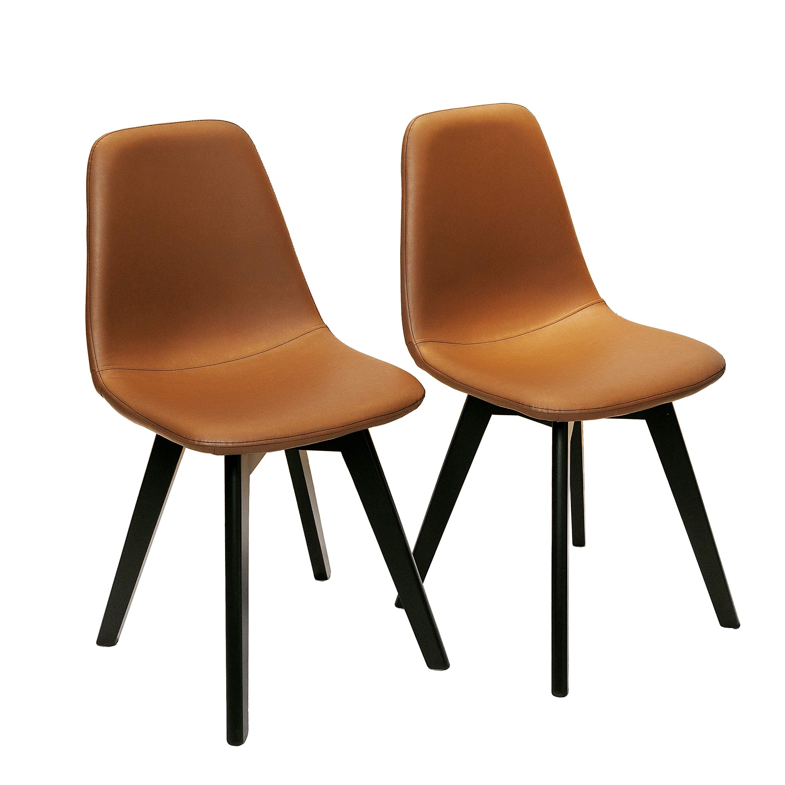 FUNCASH Dining Chairs Set of 2, Dining Room Chair Washable Brown PU Cushion Side Chairs with Sturdy Wooden Legs, Mid Century Modern Chairs for Kitchen, Dining, Bedroom, Living Room by FUNCASH