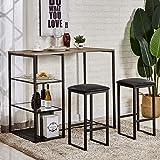 VECELO Pub Dining Set Table with Cushion Stools, Black