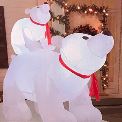 outdoor inflatable polar bear family 6 foot holiday decoration - Outdoor Polar Bear Christmas Decorations