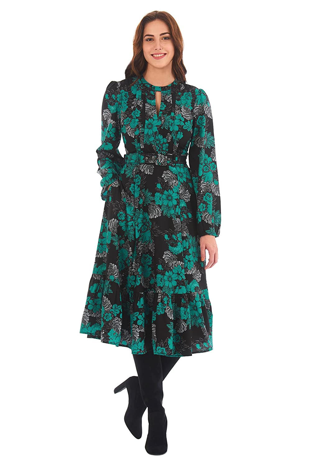 1940s Style Dresses | 40s Dress, Swing Dress Floral print crepe flounce hem dress $69.95 AT vintagedancer.com