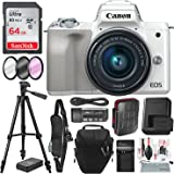 Canon EOS M50 Mirrorless Digital Camera with EF-M 15-45mm Lens (White) and 64GB SD Card + Deluxe Photo Travel Bundle