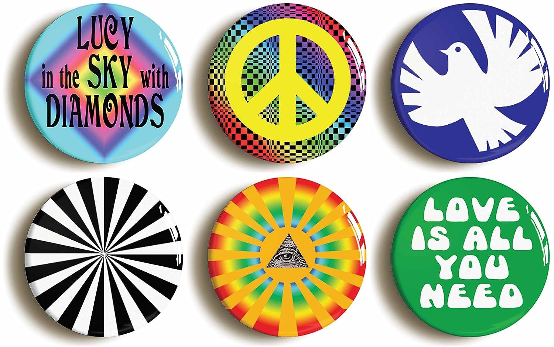【送料無料/即納】  Psychedelic Hippie Sixties Button (Size Diameter) Pin Set (Size Is B06XFD4SHV 2.5cm Diameter) B06XFD4SHV, キタカワベマチ:382e8a1f --- arianechie.dominiotemporario.com