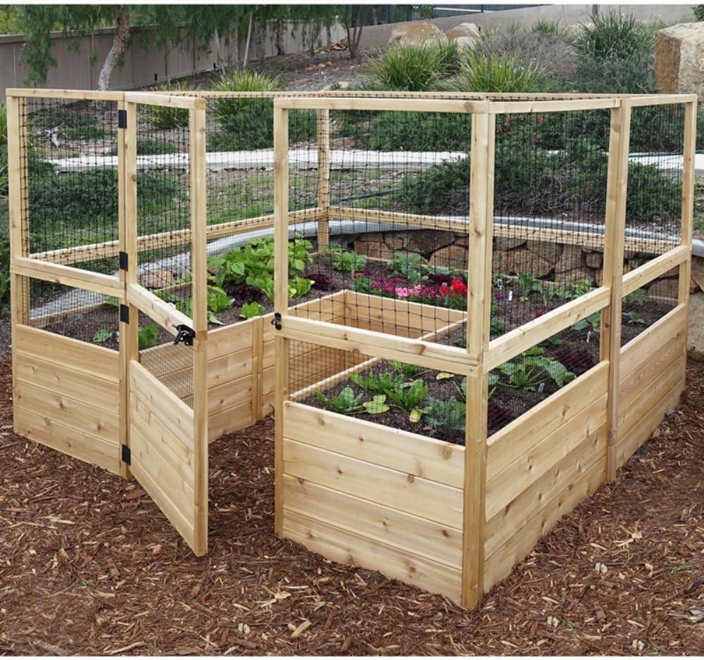 Amazon Com Square Raised Garden With Deer Fence Kit Garden