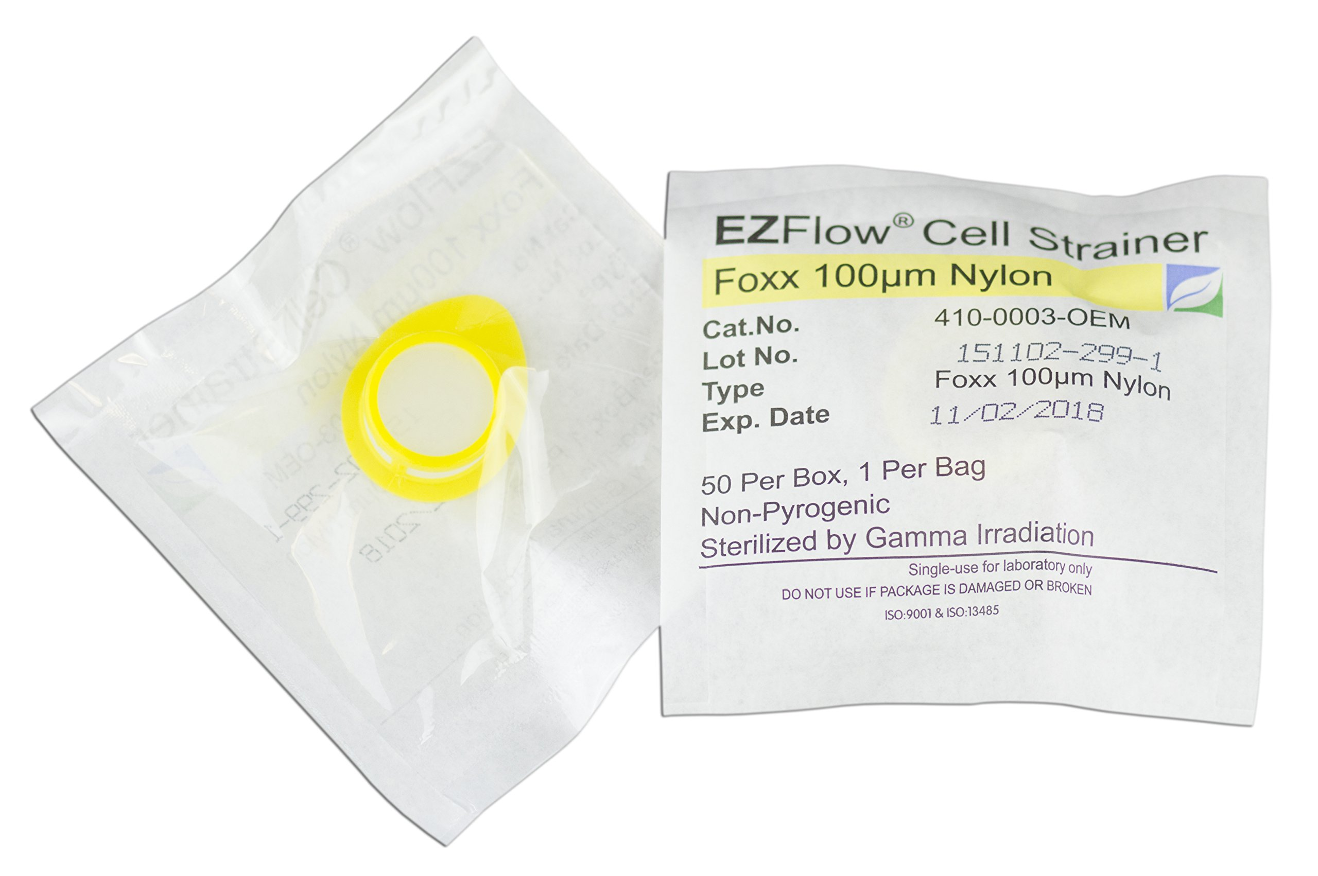 EZFlow Cell Strainer, 100μm, Sterile, Yellow, 50 per Box by Foxx Life Sciences
