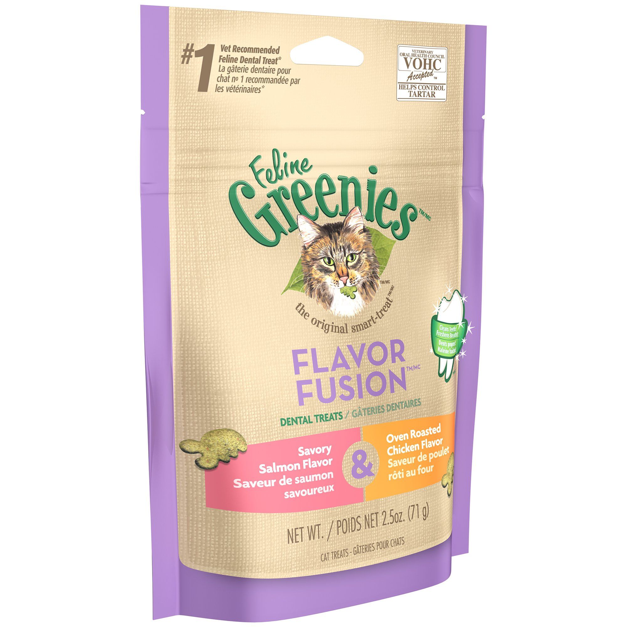 FELINE GREENIES FLAVOR FUSION Dental Treats for Cats Savory Salmon and Oven Roasted Chicken Flavors 2.5 oz.