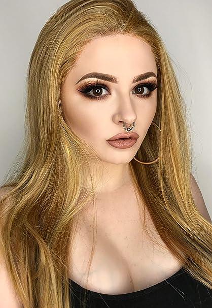 Peluca rubia Rihann Fawcett | Peluca de sujeción frontal invisible larga de pelo liso en color