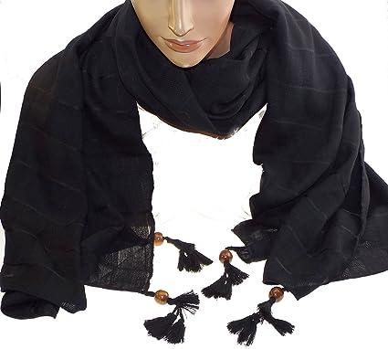 dca725d36991 1 foulard noir - fantaisie perle de bois sur chaque extrémité femme -  adolescente -100