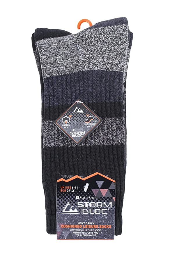 fad3c7c10e4 Storm Bloc - 3 Pack Mens Padded Sole Anti Blister Lightweight Breathable  Cotton Walking Hiking Socks for Summer (6-11 uk