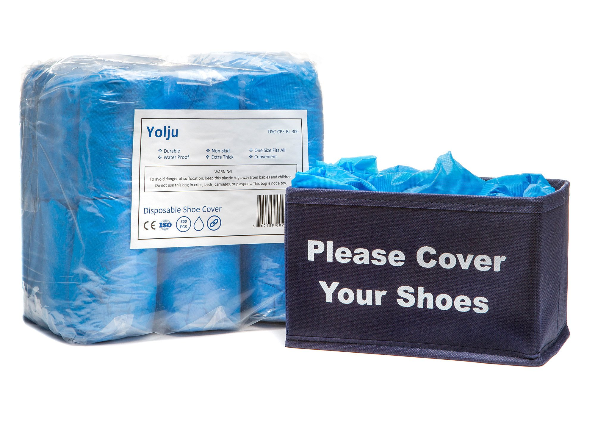 Yolju 300 Pack Disposable Shoe Covers with a Bonus Small Storage Box | Waterproof, Non Slip, Durable CPE Material